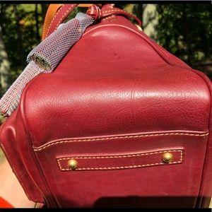 Double Pocket Satchel in Crimson